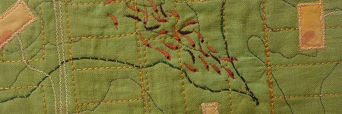 """Coming Home"" stitched on hand-dyed linen"
